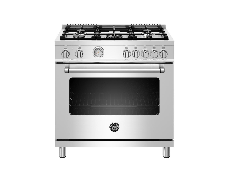 Bertazzoni36 Inch Dual Fuel Range, 5 Burner, Electric Oven Stainless Steel