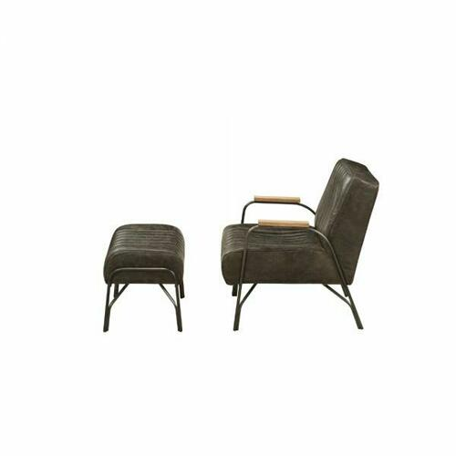 ACME Sarahi 2Pc Pack Chair & Ottoman - 59597 - Distress Espresso Top Grain Leather