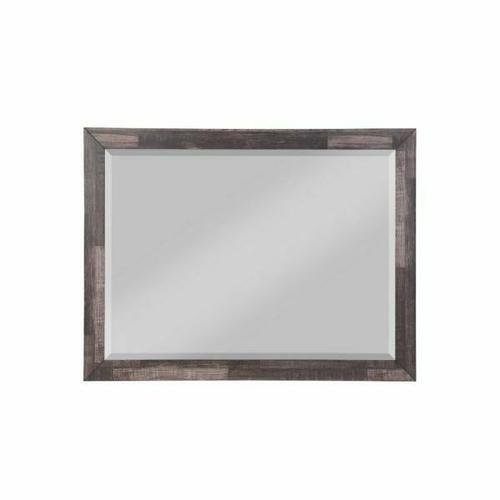 ACME Juniper Mirror - 22164 - Transitional, Rustic - Mirror, Wood (Solid Pine), Veneer (Melamine/Paper), MDF - Dark Cherry