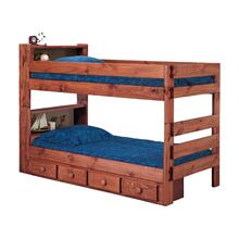 Twin/Twin Bookcase Bunk Bed w/Queen Rails