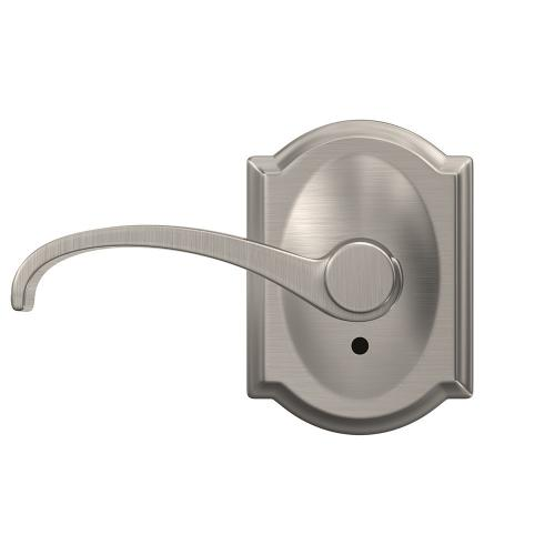 Custom Whitney Lever with Camelot Trim Hall-Closet and Bed-Bath Lock - Satin Nickel