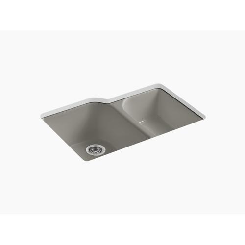 """Cashmere 33"""" X 22"""" X 10-5/8"""" Undermount Large/medium, High/low Double-bowl Kitchen Sink With 4 Oversize Faucet Holes"""