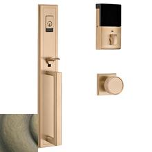 Satin Brass and Black Evolved Hollywood Hills Full Escutcheon Handleset