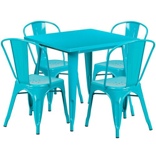 31.5'' Square Crystal Teal-Blue Metal Indoor-Outdoor Table Set with 4 Stack Chairs