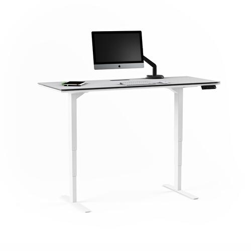 Lift Standing Desk 6451 in Satin White Gray Glass