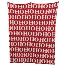"32""L x 40""W Cotton Knit Baby Blanket, Red & White ""Ho Ho Ho"""