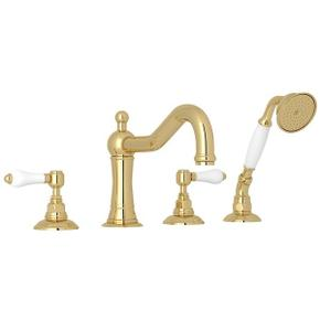Unlacquered Brass Acqui 4-Hole Deck Mount Column Spout Tub Filler With Handshower with White Porcelain Lever