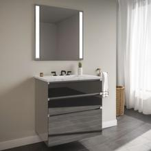 """View Product - Curated Cartesian 30"""" X 7-1/2"""" X 21"""" and 30"""" X 15"""" X 21"""" Three Drawer Vanity In Tinted Gray Mirror Glass With Tip Out Drawer, Slow-close Plumbing Drawer, Full Drawer and Engineered Stone 31"""" Vanity Top In Silestone Lyra"""