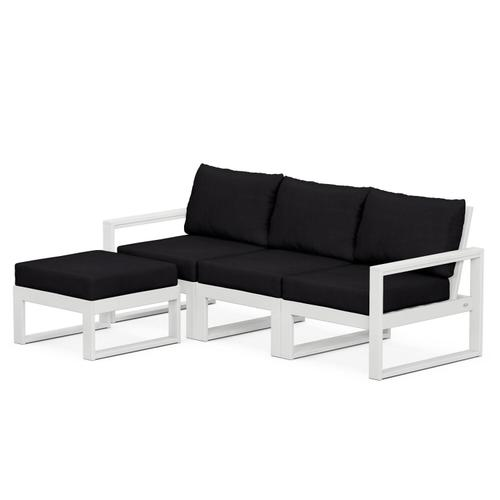 Polywood Furnishings - EDGE 4-Piece Modular Deep Seating Set with Ottoman in White / Midnight Linen