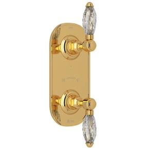 1/2 Inch Thermostatic and Diverter Control Trim - Italian Brass with Crystal Metal Lever Handle