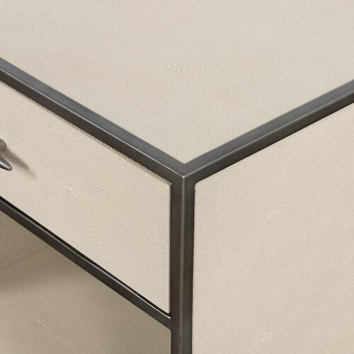 Ivory Finish Shagreen Bedside Table