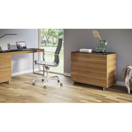 BDI Furniture - Sequel 20 6116 Lateral File Cabinet in Walnut Satin Nickel