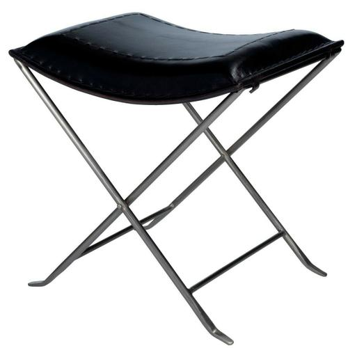 Butler Specialty Company - Leather meets iron for a simple seat. Ideal for any spot in your home. Great alone or in multiples. It's carefully stitched black leather seat is supported by an understated black iron base that folds ealisy for storage.