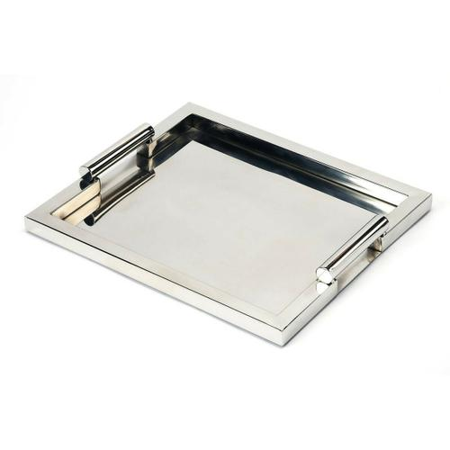 Serve cocktails and hors d'oeuvres at your next party or for that special someone on this rectangular stainless steel serving tray. Its raised outer frame and round handles give this modern tray a sleek, stylish appearance.