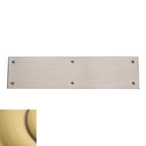 Satin Brass and Brown Square Edge Push Plate