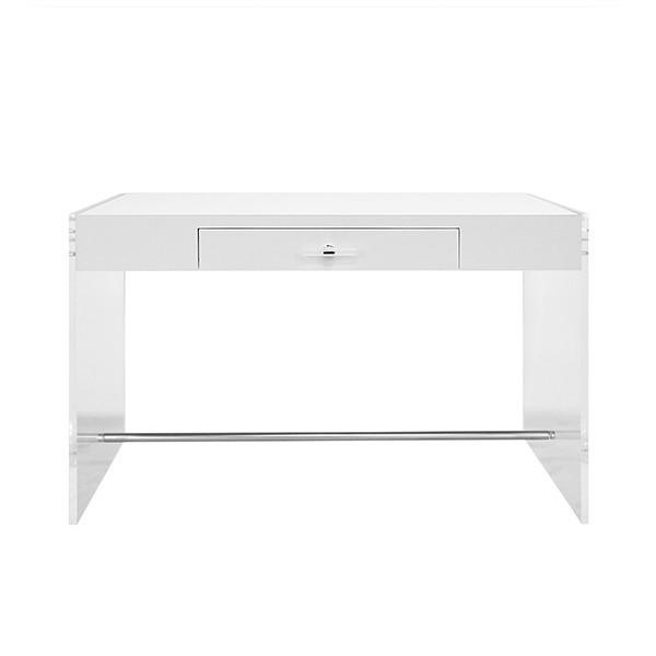 Upgrade Your Work From Home Style Stat! Our Lennon Desk Dazzles In an Ensemble of Materials and Textures - Crystal Clear Acrylic Side Panels Cradle A Contrasting Matte White Lacquer Top. Acrylic and Nickel Hardware Lend Access To the Center Drawer. Simply Stunning.