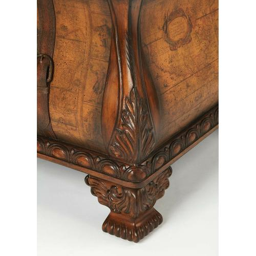 Butler Specialty Company - Old world map glazed and laquered surface. Geunine leather appointments. Working drawer.
