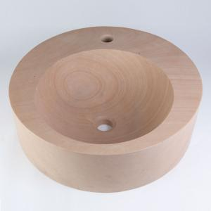 Round Sandstone Vessel with Faucet Mount Product Image