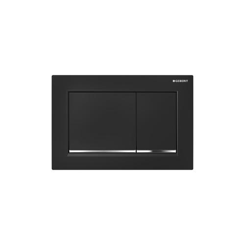 Omega30 Dual-flush plates for Omega series in-wall toilet systems Black with polished chrome accent Finish