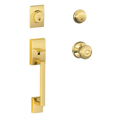 Century Double Cylinder Handleset and Georgian Knob - Bright Brass