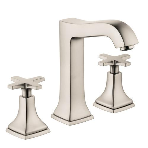 Brushed Nickel Widespread Faucet 160 with Cross Handles and Pop-Up Drain, 1.2 GPM