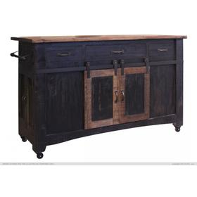 See Details - 3 Drawer Kitchen Island w/2 sliding doors, 2 Mesh doors on each side - functional casters - Black & Brown Finish