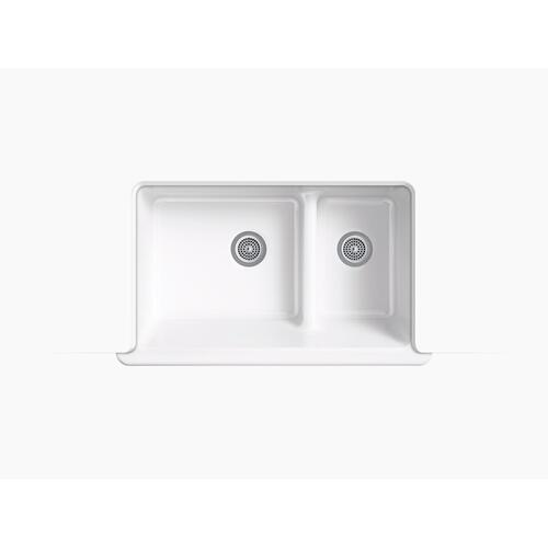 "Basalt 35-1/2"" X 21-9/16"" X 9-5/8"" Smart Divide Undermount Double-bowl Large/medium Farmhouse Kitchen Sink"