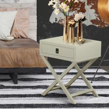 Square Night Stand End Table With Drawer in Urban Gray Finish