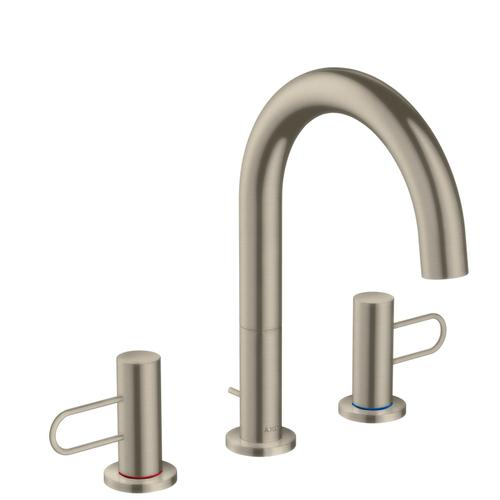 Brushed Nickel 3-hole basin mixer 160 with loop handles and pop-up waste set