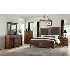 ACME Vibia Queen Bed - 27160Q - Brown Fabric & Cherry Oak