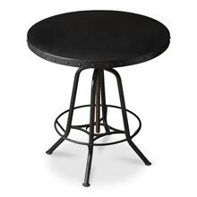 View Product - This industrial-look hall table rotates and adjusts to the desired height. Its all-iron construction with a distressed black finish is a distinctive touch in a variety of spaces, and its height-adjustable base provides ultimate function making it equally suitable for use as a pub table.