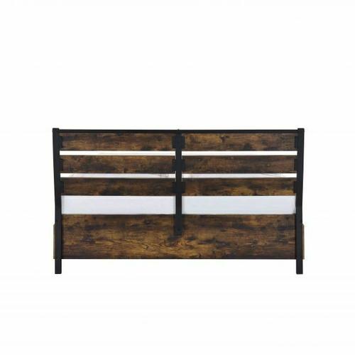 ACME Juvanth Queen Bed W/Storage, Rustic Oak & Black Finish - 24260Q
