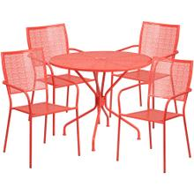 35.25'' Round Coral Indoor-Outdoor Steel Patio Table Set with 4 Square Back Chairs