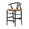Counter Stool Size Black Teak Finish Whiskey Saddle Cushion Muestra Bar + Counter Stool