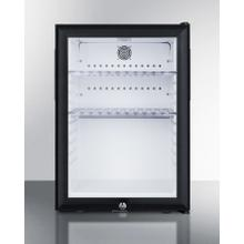 Compact Minibar Designed for the Display and Refrigeration of Beverages and Sealed Food, With A Reversible Glass Door, Front Lock, and Black Cabinet