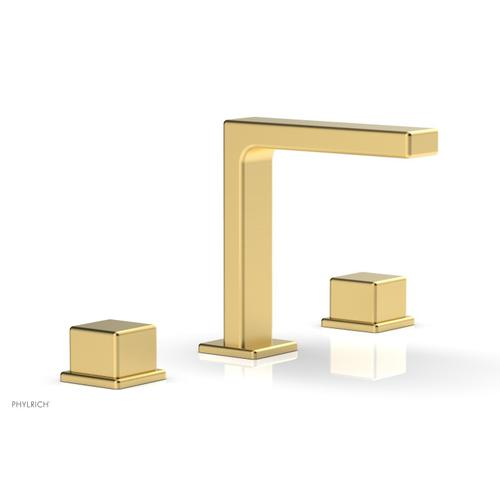 """MIX Widespread Faucet - Cube Handles 6-3/4"""" Height 290-04 - Burnished Gold"""