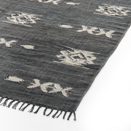 3'x9' Size Tribal Faded Black Rug