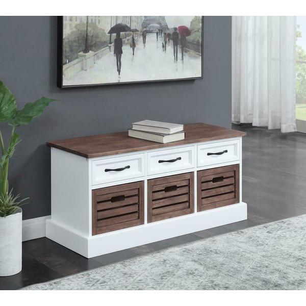 See Details - Weathered Brown and White Storage Bench