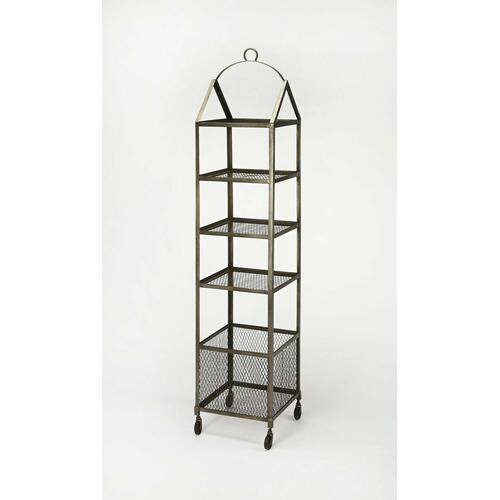 Butler Specialty Company - Attractively display photos, books, or household items on this industrial-chic etagere. Featuring four tiers of shelving and a bottom storage basket, it has lots of storage and casters for easy mobility.