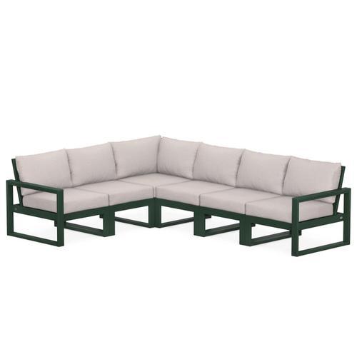Polywood Furnishings - EDGE 6-Piece Modular Deep Seating Set in Green / Dune Burlap
