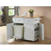 Transitional Natural Brown and White Kitchen Cart Product Image
