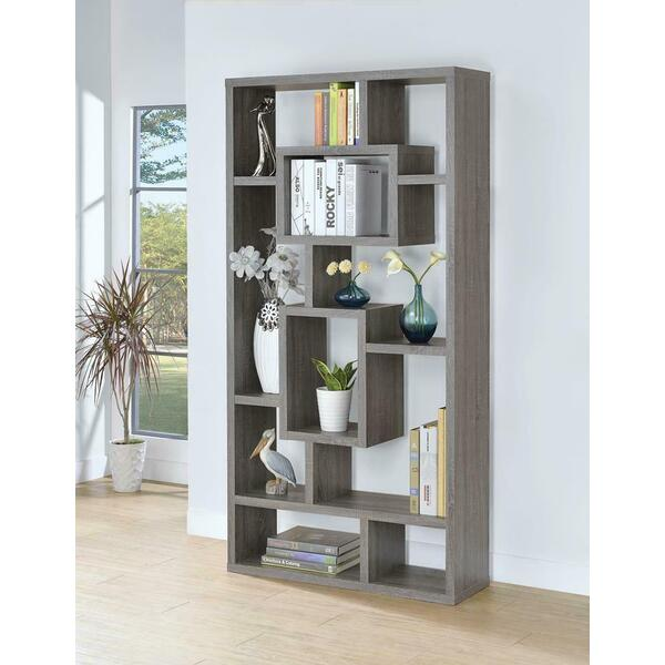 See Details - Contemporary Weathered Grey Bookcase