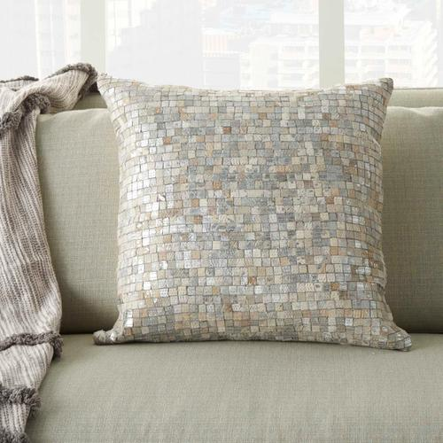 """Natural Leather Hide S2186 White/silver 20"""" X 20"""" Throw Pillow"""