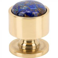 View Product - FireSky Mohave Lapis Knob 1 1/8 Inch Polished Brass Base Polished Brass