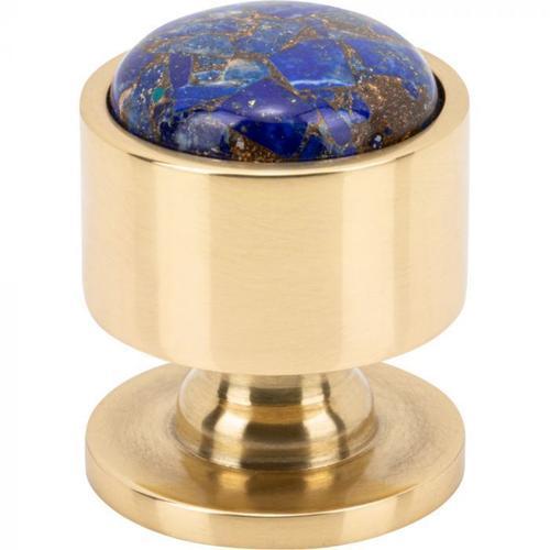 Vesta Fine Hardware - FireSky Mohave Lapis Knob 1 1/8 Inch Polished Brass Base Polished Brass