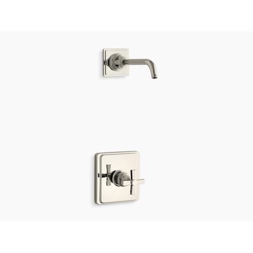 Kohler - Vibrant Polished Nickel Rite-temp Shower Trim Set With Cross Handle, Less Showerhead