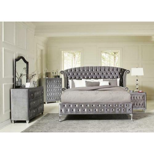 Deanna Bedroom Traditional Metallic Queen Five-piece Set