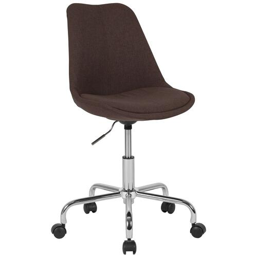 Mid-Back Brown Fabric Task Chair with Pneumatic Lift and Chrome Base