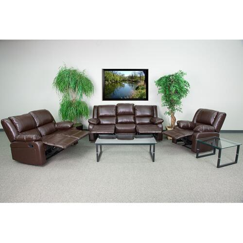 Brown Leather Reclining Sofa Set