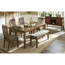 6 PIECE DINING SET (EXTENSION TABLE, 4 SIDE CHAIRS, AND BENCH)